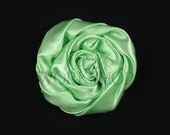 "Mint Green - Set of 3 Large 3"" Rolled Satin Flowers - RSF-010"