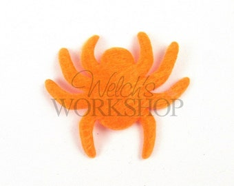 "Halloween - Set of 5 Orange Spiders - 2"" Padded Appliques PA-016"