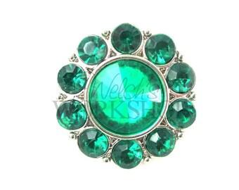 Green - Set of 3 Acrylic 25mm Rhinestone Buttons - AB-093
