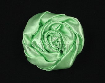 """Mint Green - Set of 3 Large 3"""" Rolled Satin Flowers - RSF-010"""