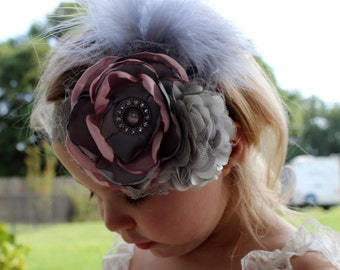 Pink and Gray Satin Flower Headband, Photo Prop, Couture Headband, Infant Headband, Toddler Headband
