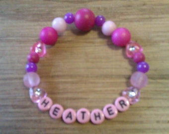 Cute girls bracelet, name bracelet with the name Heather, girls gift