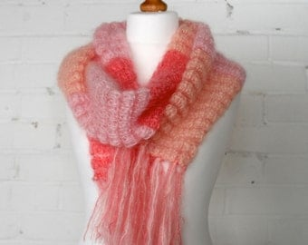 LADY IN PINK Hand Knitted Wool Scarf from Mohair Wool, Colour Block, Pink