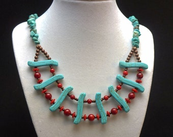 Turquoise and Antique Bronze Necklace