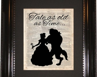 Tale As Old TimeBeauty And The Beast Dictionary Art Print Vintage