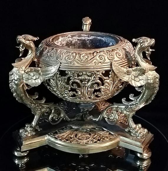 sold brass dragon urn console bowl chinese vase art nouveau. Black Bedroom Furniture Sets. Home Design Ideas