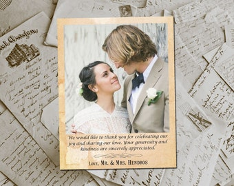 """Wedding Thank You Magnets - Malawere Vintage Photo Personalized 4.25""""x5.5"""""""