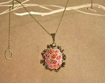 polymer clay rose necklace, dust pink rose, vintage necklace
