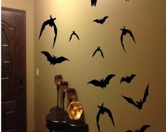 21 Halloween Decorations Bats Flying Bats Halloween Decor Halloween Wall Decals Halloween Party  Vinyl Decals Halloween Stickers