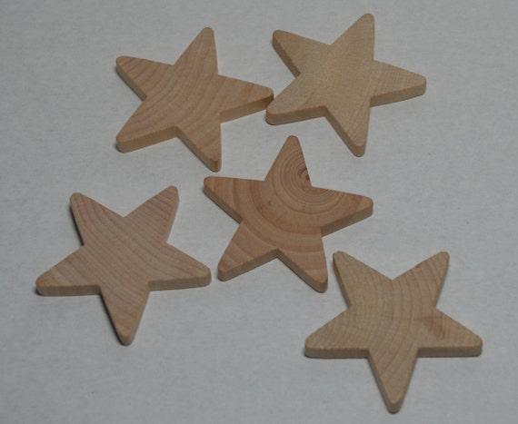 "2"" Wood Stars - Set of 5 Unfinished Wood Star Cutouts - 1"