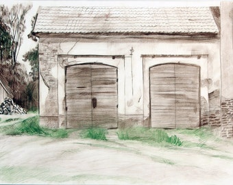 Old garage, hand drawing 0113