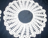 Solid White Crocheted CIRCLE DOILIES 100% Cotton 11 inches in Diameter