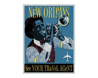 New Orleans - Vintage Airline Travel Poster