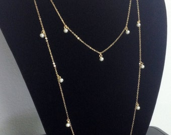 Extra Long Crystal Pearl Gold Necklace N25