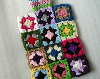 Crochet Hot Water Bottle Cozy, Crochet Granny Squares
