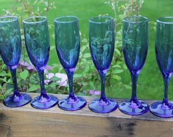 vintage blue fluted Champagne glasses, vintage cobalt blue Champagne flutes, wedding toasting glasses, vintage wedding table glassware, BLUE