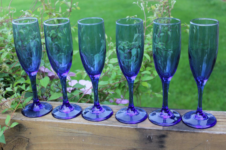 Vintage Blue Fluted Champagne Glasses Vintage Cobalt Blue