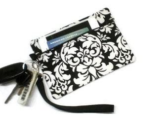 Damask black and white phone purse, personalized wristlet, phone wallet, Damask clutch, personalized clutch, monogrammed wristlet, wristlet