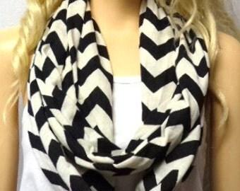 Black  & CREAM Chevron Print  Infinity Scarf   Jersey Knit