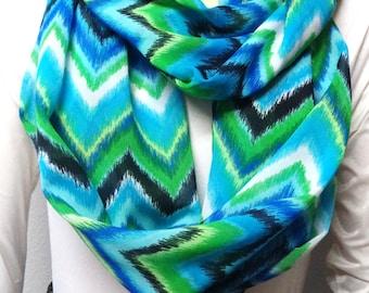 Gorgeous Blues and greens CHEVRON -  Infinity Scarf-- Spring Fashion gift ideas