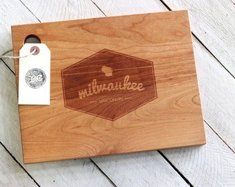 Custom City, State or Country Personalized Cutting Board - Hexagon Badge Design