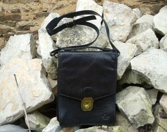 black leather french 'erbe' man bag/handbag