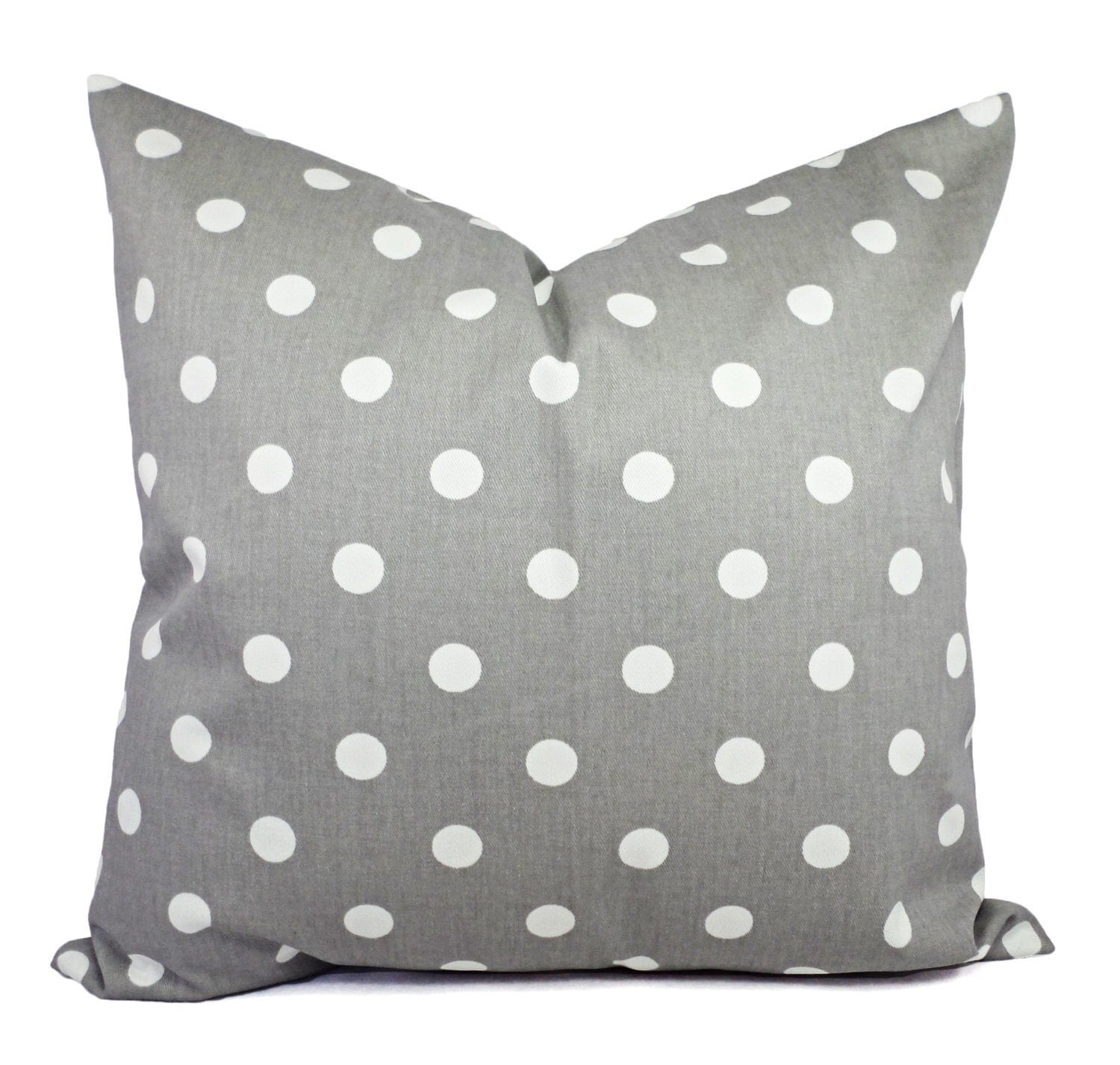 Two Decorative Throw Pillow Covers Grey And White Polka Dot