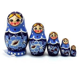 Nesting dolls 5 psc Gzhel Russian doll Matryoshka  Handmade stacking Babushka dolls Birthday gift Home decor ideas. Souvenir.