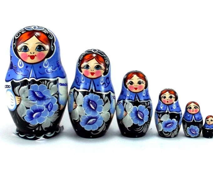Nesting doll 6 pcs Gzhel. Russian matryoshka. Original birthday or christmas gift and present. Handmade dolls. Home decor souvenir.