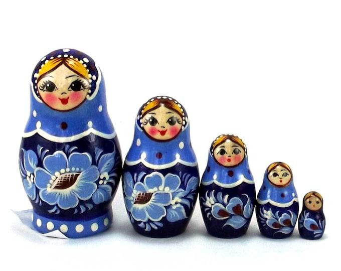 Nesting Dolls 5 pcs Russian Matryoshka Babushka doll for kids set Authentic stacking wooden toy from Russia Handpainted Gzhel style