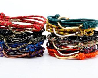 Fish Hook Bracelet for Men or Women on Maritime Rope
