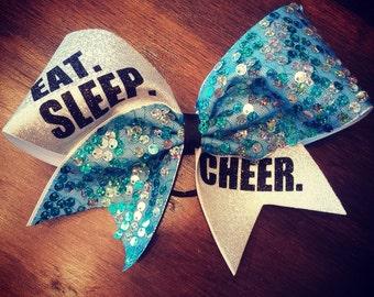 Eat. Sleep. Cheer. Turquoise sequins cheer bow.