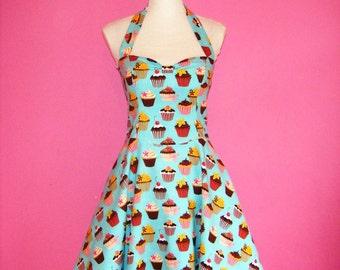 Sew Sweet... Turquoise Cupcakes Sweet Lolita Halter Neck 50s Dress