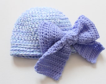 Purple big bow hat, newborn baby hat with big purple bow on it, newborn photo prop hat with bow