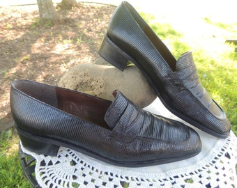 VS000001 Vintage Stuart Weitzman New Condition Black Leather Lizard Loafer Made in Spain Size 8 Narrow.-By God Oddities Decor on ETSY