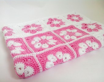 Crochet White Pink Baby Girl Blanket Newborn summer blanket, Granny Squares Organic Cotton Baby Afghan, Baby Girl  Newborn Baby Shower Gift