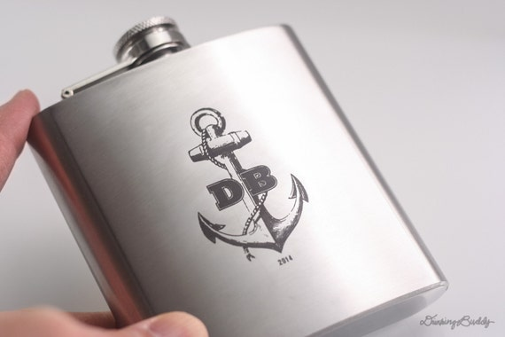 Personalized Anchor Flask with Initials - Custom 6oz Engraved Liquor Hip Flask