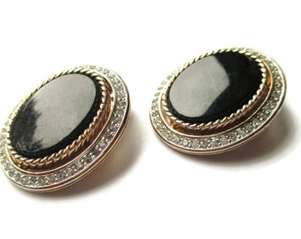 Vintage Panetta  Black Glass and Crystal Gold Tone Clip Cameo Earrings