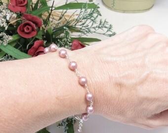 Swarovski Pearl Bracelet, Powder Rose Pearl Bracelet In Sterling Silver, Bridal Bracelet, Simple Pearl Bracelet, Bridesmaids Pearl Bracelet