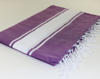Beach Picnic Oversized Blanket, Beach Towel Blanket, Excellent Quality, 100% Turkish Cotton Purple