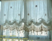 French Country White Lace Crochet Balloon Shade Austrian Sheer Voile Cafe Kitchen Curtain E032  with C shape shower rings
