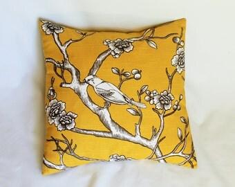 "One Dwell Studio Vintage Blossom Citrine fabric pillow cover designer decorative throw pillow  16x16"" 18x18 20x20 22x22"""