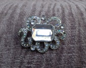 Antique Jewelry: Vintage Pin of Antique Silver Tone Metal with Rhinestone Bling