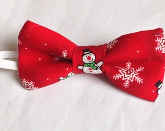 Red Snowman Bow tie, Christmas hair bow - pretied bow tie - baby- adult bow tie or hair bow - Snowman Bow