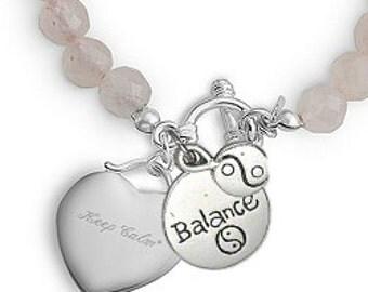 Fitness Bracelet - Exercise Bracelet - Rose Quartz Bracelet - Amethyst Bracelet - Gift For Fitness Guru - Fitness Jewelry - Exercise Jewelry