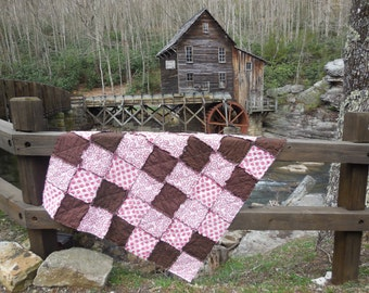 Cottage Chic Pink and Brown Rag Quilt Throw!!! (( Only One-Ready Made- Ready To Ship))