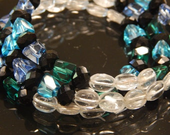 Black Green Blue Wire Wrap Bracelet