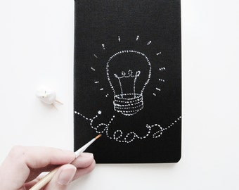 Original Mini journal Bright Ideas. Hand-painted notebook pocket notebook A5