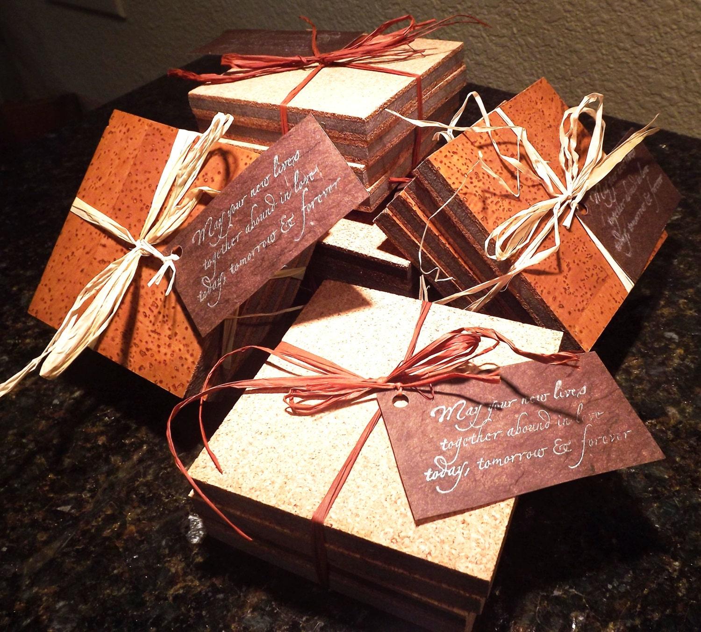 Wedding Cork Coaster: Wedding Favor Cork Coaster Set Set Of Four Recycled