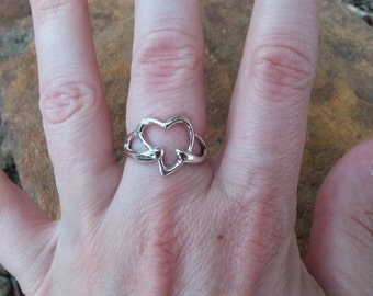 Sterling Silver Ring Size 7 Heart Design